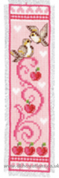 Birds And Apples Pink Bookmark Cross Stitch Kit